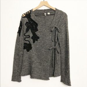 {Anthro} Moth | Frosted Panes Wool Wrap Cardigan M